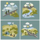 Set of outdoor leisure pictures — Stock Vector