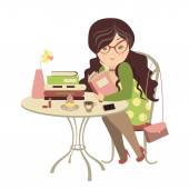 Girl reading a book — Stock Vector