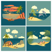 Sea landscape icons set — Stock Vector