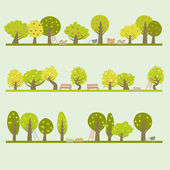 Set of different fruit trees — Wektor stockowy