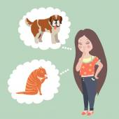 Girl thinking whom to choose. Cat or dog — Stock Vector