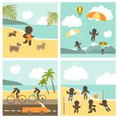 Set icon sport people on the sea — Stock Vector