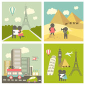 Couple in love traveling — Vector de stock