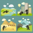 Photographer shooting at locations — Stock Vector #73575621