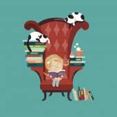Little girl reading a book — Stock Vector