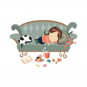 Lazy sleeping girl with cat — Stock Vector