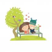 Couple teenagers sitting on the bench — Stock Vector