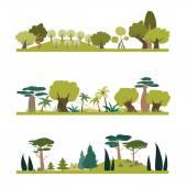 Set of different trees species  — Stock Vector