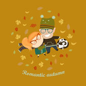 Romantic couple lying on grass among the fallen leaves — Stock Vector