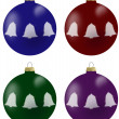Illustration of christmas balls with bells in 4 colours — Stock Photo #53133747