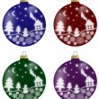 Illustration of christmas balls with winter scenery in 4 colours — Stock Photo #53133749