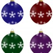 Illustration of christmas balls with snowflakes in 4 colours — Stock Photo #53133753