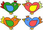 Illustration of heart shaped bird in four color variations — Stock Vector