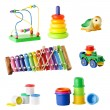 Collection of toys for young children isolated on white background — Photo #73571549