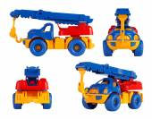 Isolated children toy car crane. different angles — Stock Photo