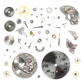 Disassemble old mechanical wristwatch isolated on white background — Stock Photo