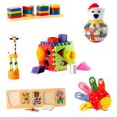 Collection of toys for young children isolated on white background — Stock Photo