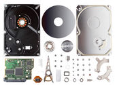 Disassembled hard drive isolated — Stock Photo