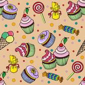 Pattern with cupcake and candys — Stock Vector