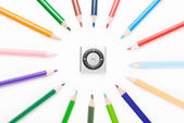 Colored pencil with mp3 — Stock Photo