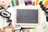 School equipment with slate — Stock Photo