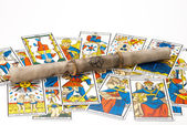 Old magic parchment with draw — Stock Photo