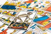 Clairvoyance tarot cards and Death card — Stock Photo