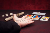 Clairvoyance equipment with palm — Stock Photo