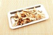 Tray and mushrooms — Stock Photo