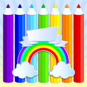 Rainbow pencils with place for your text. — Stock Vector