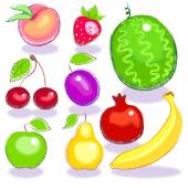 Collection. complete set fruits on a white background — Stock vektor