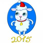 2015 new year with cute sheep. vector illustration — Vetorial Stock