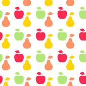 Apple and pear sign icon. Fruit with leaf symbol. Seamless grid  — Stock Vector