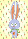 Cute bunny with carrots — Vetorial Stock