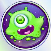 Jelly green alien monster in space. vector — Vetorial Stock