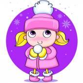 Little cute girl with a snow ball — Stock Vector