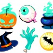 Set of cute vector Halloween elements, objects and icons for you — Stock Vector #59821445