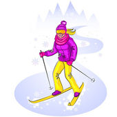 Skiing cute girl on snowy hill — Stock Vector