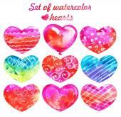 Conjunto de corações de aquarela — Fotografia Stock
