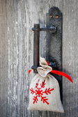 Gift on the handle of door — Stok fotoğraf