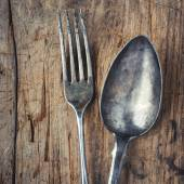 Old spoon and fork — Stock Photo