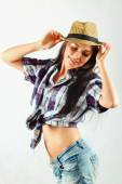 Girl cowboy on a white background — Stock Photo