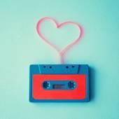 Tape of audio cassette in Shape of Heart — Stock Photo