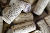 Drawn grape raceme on a cork, background — Stock Photo