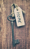 Old key with hope sign — 图库照片
