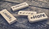 Family, career, life and hope signs — 图库照片