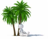 Human character under palm tree — Stock Photo