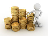 Human character and stack of coins — Stock Photo