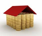 Conceptual house made from coins — Stock Photo