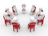 Human characters sitting in circle on chairs — Stock Photo